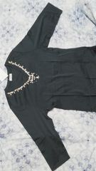 激安セール未使用美品七分袖Tシャツ 青緑色 豪華キラキラビーズタグ付