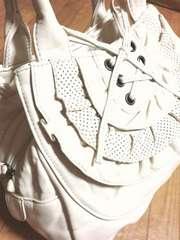 新品ギャラリービスコンティ/GALLERY革製リボントートバッグ