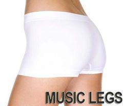 A274)MusicLegsシームレスショーツ白ホワイトダンサーダンス衣装下着インナーボクサーパンツ