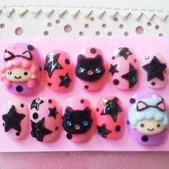 SALE☆ネコ耳双子チャンふわもこ黒猫・星 ショート hina