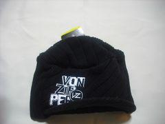 mb333 男 VON ZIPPER ボンジッパー つば付き ニット帽 黒