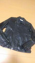 VANQUISHヴァンキッシュ/黒ダブルライダースラムレザージャケット/size46/羊革
