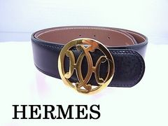 HERMES  レザーベルト ブラック×ブラウン Sサイズ 美品★dot
