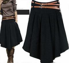 *2L〜3L相当★ベルト付きミモレ丈ウールスカート2本ベルトデザイン 黒*即決