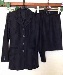 コムサデモード★ブラック ピンストライプ スカート スーツ M