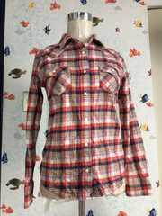 長袖 チェックシャツ 二枚セット レッド ピンク系