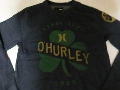 《Hurley》薄手生地裏起毛アイリッシュ系プリントトレーナーUS M