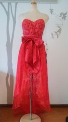 F ロングドレス CREAM レッド ミニ 2way 刺繍 新品 J16141