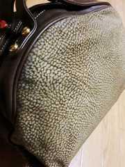 ボルボネーゼ/B鶉柄革製スエードバニティハンドボストンバッグ