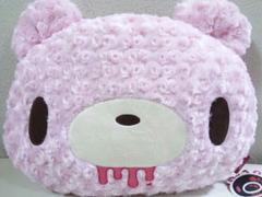 顔グルーミーふわふわで高そうなテディっぽいクッション43�pピンク