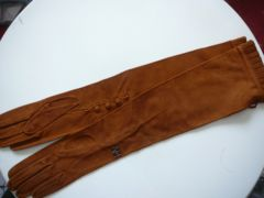 送料無料アンナモリナーリロング丈58cmスェード21手袋キャメル