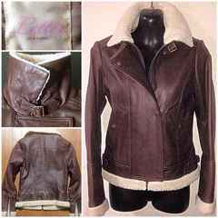 柔らか山羊皮革レザージャケット定価3万程ボア毛ライダース細身M