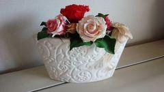 造花 フラワーアレンジメント 白横長花瓶
