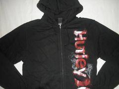 ハーレー『Hurley』ロゴプリント裏起毛フルジップパーカーUS S黒