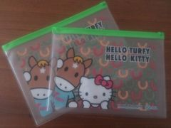 TURFY&HELLO KITTY ジッパー付き ビニールポーチ2個 キティ