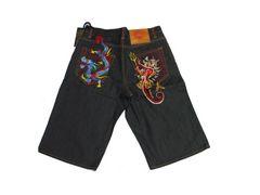 セール新品Ed Hardyエドハーディー★デニムハーフパンツ刺繍デビルドラゴンタトゥーW32