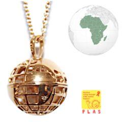 ORANGE SUN  world map necklace