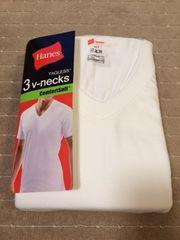 へインズシャツVネック 白 3枚パック Mサイズ