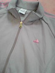 adidas女性用ジャージ上グレー×ピンクLサイズ灰色桃色Lサイズ程度良好即決