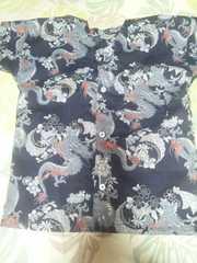 ☆新柄紺×飛龍和柄ダボシャツ120