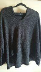 ■秋物美品AZULbymoussyグレーミックス裾変形フードニットソー■