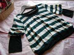 大きいサイズLLボーダー編み袖バルーンニット&カットソーグリーン