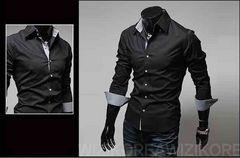 【新品】メンズ ボタンシャツ 長袖 Lサイズ ブラック