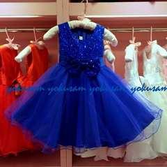 新作★100★ロイヤルブルーの豪華スパンコールとリボンのドレス