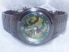 2622復活祭★FOSSILフォッシル☆カモフラ迷彩モデルフルブラックメンズ腕時計
