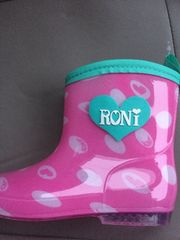 新品格安!《ロニィ》長靴ピンクドット柄19cm