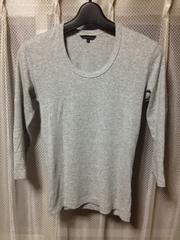 ユニクロ インナー 七分袖Tシャツ ロンT カットソー Sサイズ細身 無地 グレー灰色 ストレッチ