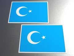 ■東トルキスタン旗ステッカー2枚セット ウイグル