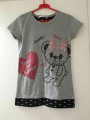 150サイズ/Tシャツ/グレー/ラインストーン/ラメ