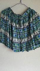新品♪アジアン☆グリーン★ブルー★花柄★ミニスカート。フリー
