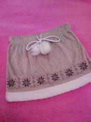 ノルディック雪柄ポンポン&裾ボア付スカートMフワモコで激カワ
