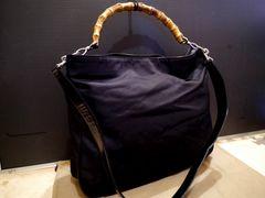 美品◆GUCCI グッチ バンブー ハンドショルダー2way バッグ 黒◆