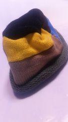 七色カラフルニット帽レディース