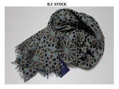 B.C STOCK*simpliciteウールガーゼ*フラワー柄ストール新品ブルー系