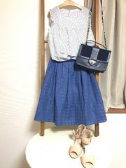 テチチ*ブルーシャドーギンガムチェックフレアスカート