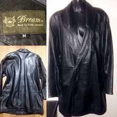 Bream柔らか羊皮革ラムレザーコートジャケットMビジネス冬暖か