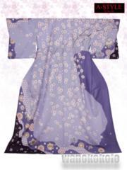 【和の志】洗える着物◇訪問着◇藤紫系・古典染め分け◇AS3