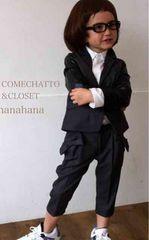 COMECHATTO&CLOSET*ストライプパイピングリボン付きパンツ130黒