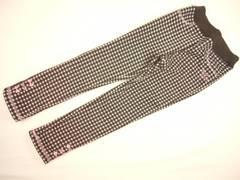 値下げ処分メゾピアノギンガムチェックの暖かい裏起毛のロングパンツ