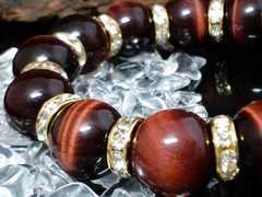 レッドタイガーアイ14ミリ§金ロンデル赤虎目石数珠