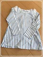 肩レースフリル/白×青/ストライプ/長袖/Tシャツ/ロンT/110�p