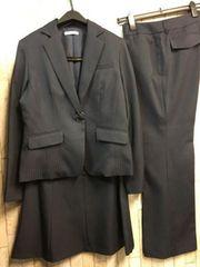 新品☆11号スーツ3点セット!パンツ・スカート紺シャドー☆n497