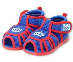 新品BABYDOLL☆メッシュ サンダル 14cm ブルー 王冠 靴 ベビードール