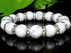 パワーストーン☆天然石!!ハウライトホワイトターコイズ12ミリ数珠ブレス§銀ロンデル