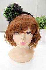 Wigs2you☆W-8204*ポンポンカチューシャ*ヘアアクセ/緑