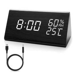 目覚まし時計 木製 置き時計木目調デジタル USB給電/電池